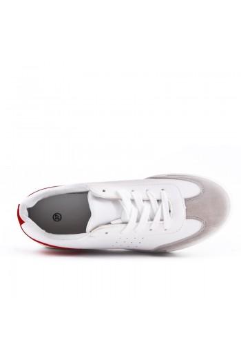 Tennis Blanc A Lacet Avec Touche Rouge