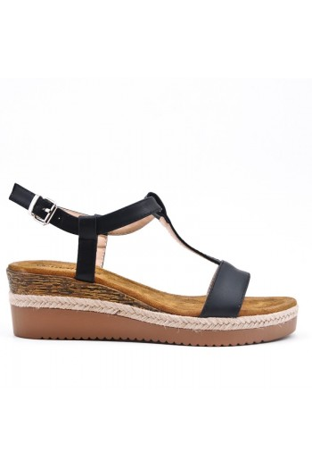 Sandale Noire En Simili Cuir À Petit Compensé