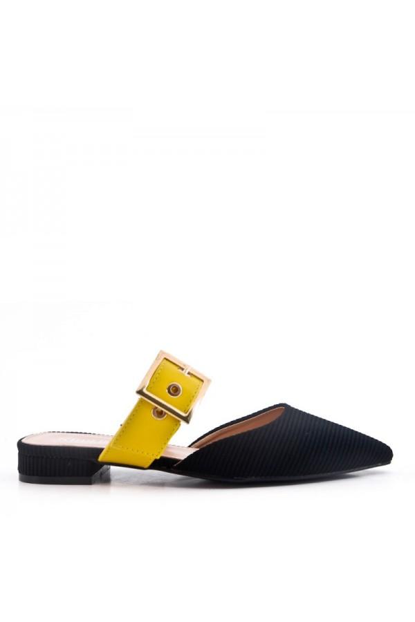 Sandale Pointues Plat En Mix Matière