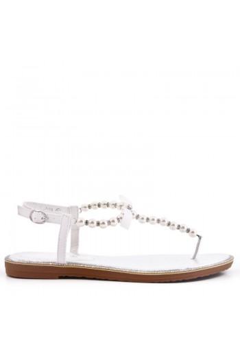Sandales Tongs Plates Perles En Simili Cuir