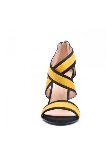 Sandale À Talon En Simili Daim