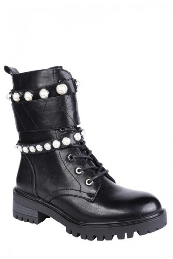 Bottine En Simili Cuir Avec Perles
